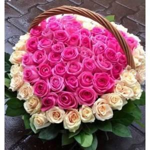 Корзина 101 роза сердцем в нежных тонах R1957