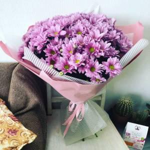 Букет 7 веток розовой хризантемы с оформлением R1122