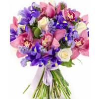 Букет крупные орхидеи, ирисы и розы с лентами R120