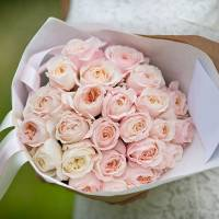 Букет 21 нежная пионовидная роза R401